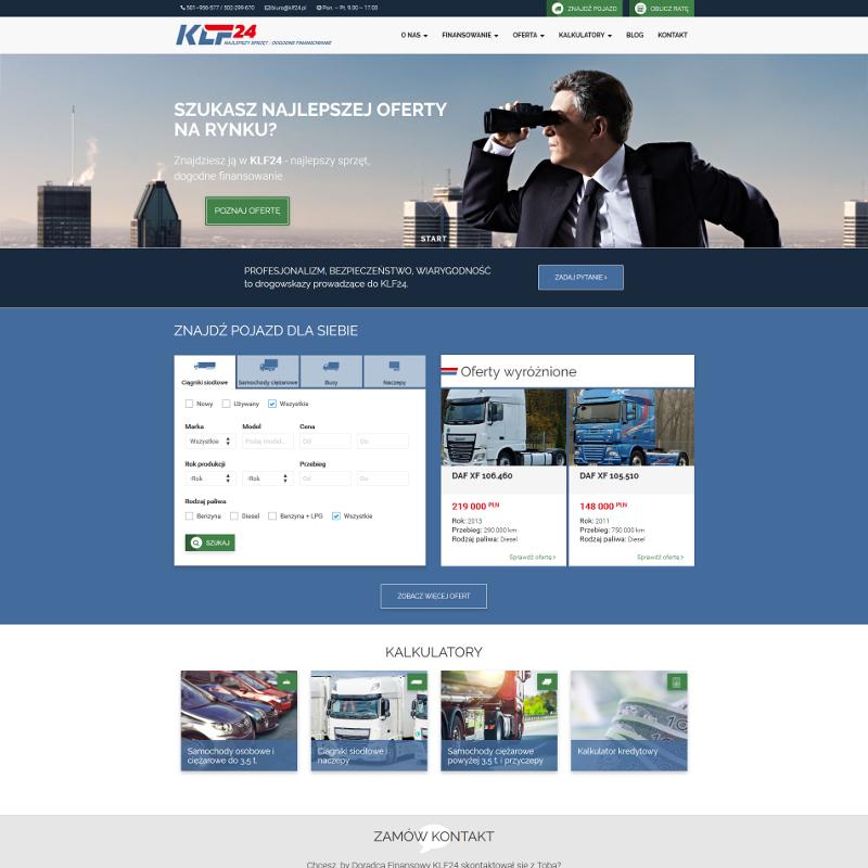 Strona internetowa z systemem ogłoszeń pojazdów